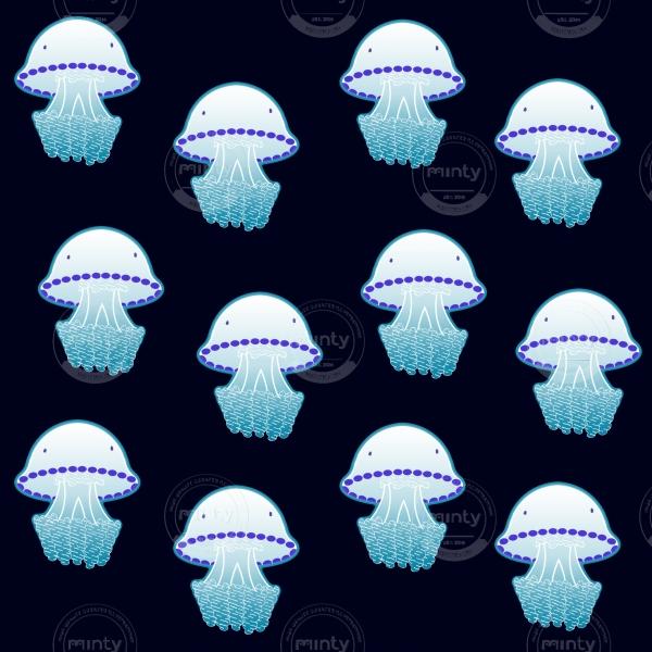 Rhizostoma  Pulmo Jellyfishes of the Mediterranean Sea and neon white pattern on navy blue background