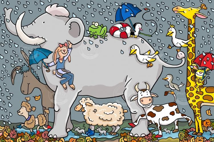 Kids with Girraffes Washing the elephant