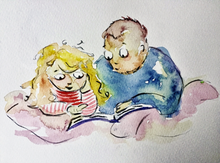 Girl and father reading bedtime story on bed