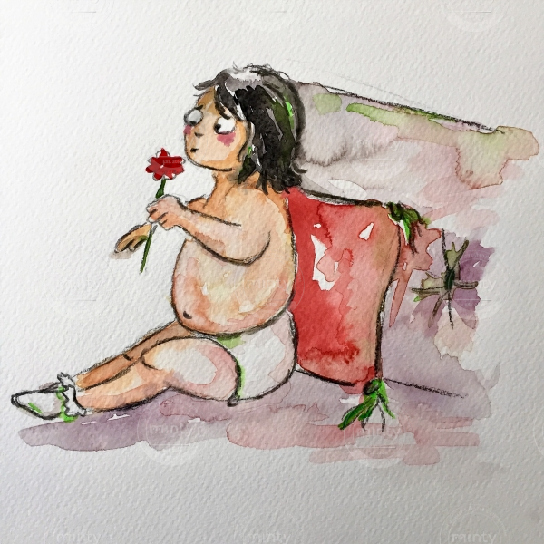 Child sitting on sofa smelling flower
