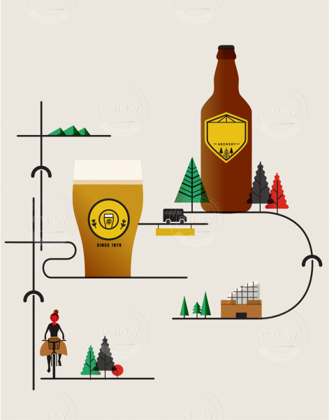 Bike route to the brewery for beer and city culture