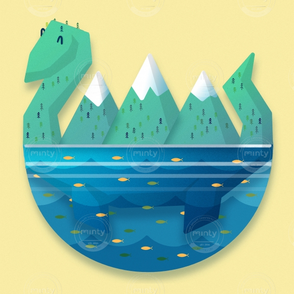 Friendly cute lochness monster swimming in lake having snowy mountain tops as scales