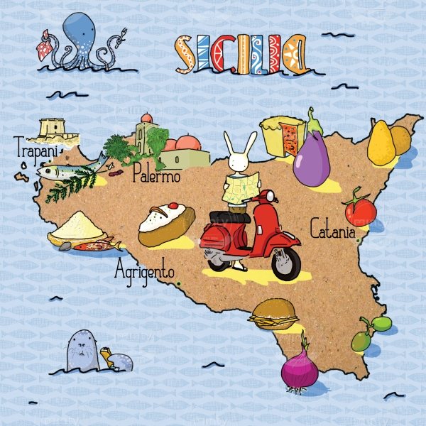 Gastronomical food Map of Sicily for a weekend getaway for foodie travellers featuring a bunny on its vespa looking for the road ready to eat all the cous cous, arancini, eggplants and panelle in Palermo, Trapani, Catania and Agrigento