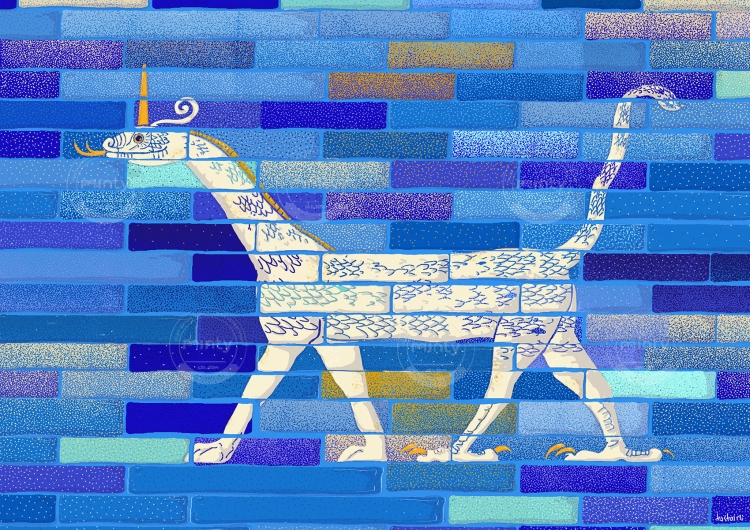 Ancient mosaic with the representation of a mushushu, a mythological snake dragon from the Gates of Ishtar from Mesopothamia in Pergamon Museum on blue background