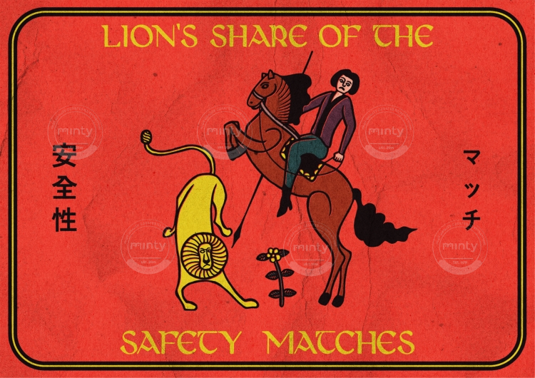 Lion attacking a man on a horse