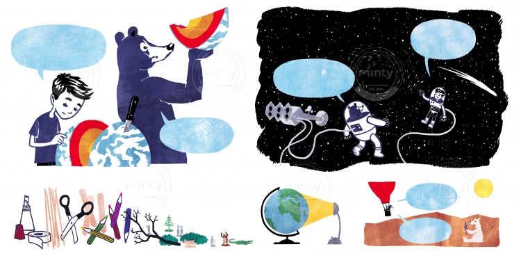 Boy and bear exploring earth and universe