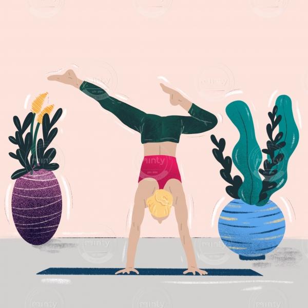 Woman training joga pose