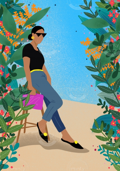 Woman posing next to flowers