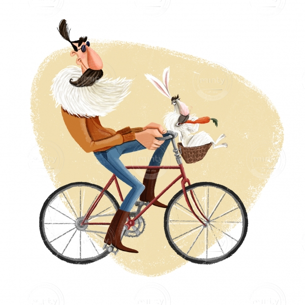 Men riding a bike with a white rabbit