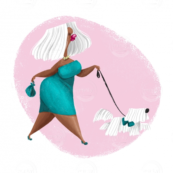 Lady walking with a white dog