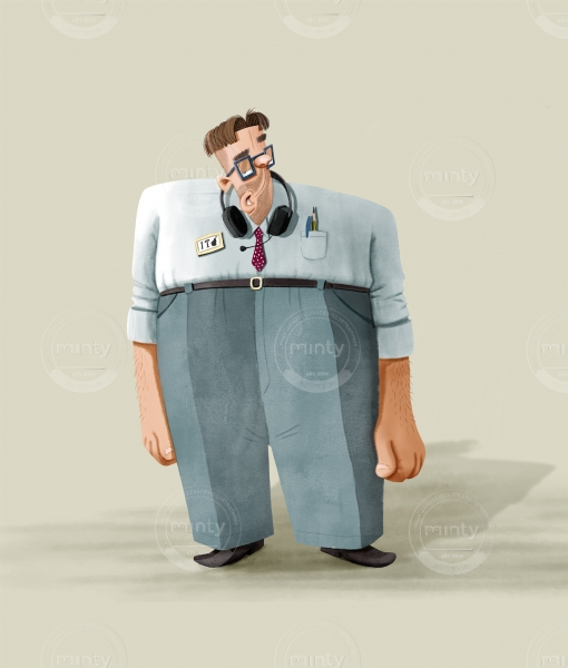 Character Design: It Assistant with a squared body