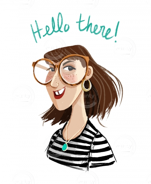 Self portrait: smiling girl with big glasses and a black and white stripes shirt