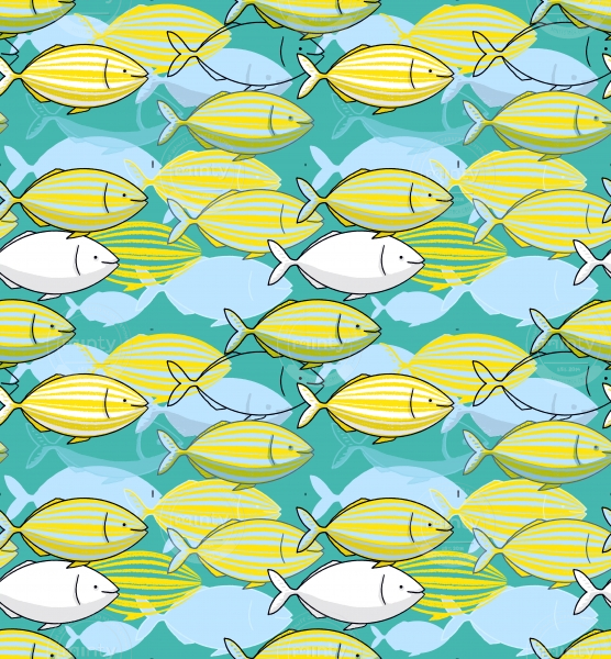Dreamfish school of yellow salpa salpa fishes illustration pattern featuring some Mediterranean fishes on a mint background