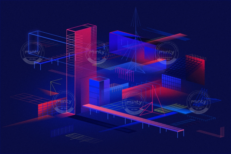 Dimetric City with Isometric View and geometric structures