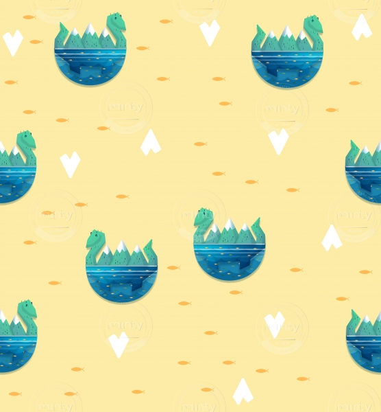 Cute friendly kawaii little nessie monster pattern with orange goldfishes on yellow background