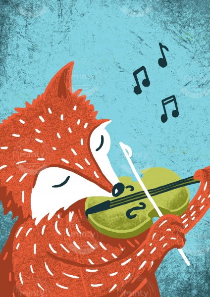 Orange Fox with green Fiddle playing  a tune