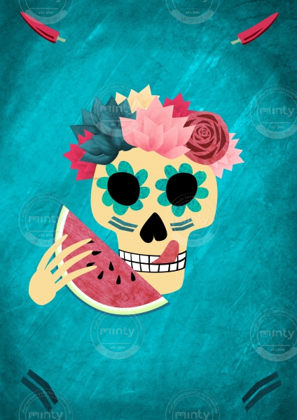 Mexican decorated skull eating a slice of melon, poster for Dia De Los Muertos