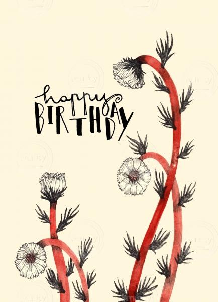 Hand written happy birthday wishes among flowers.
