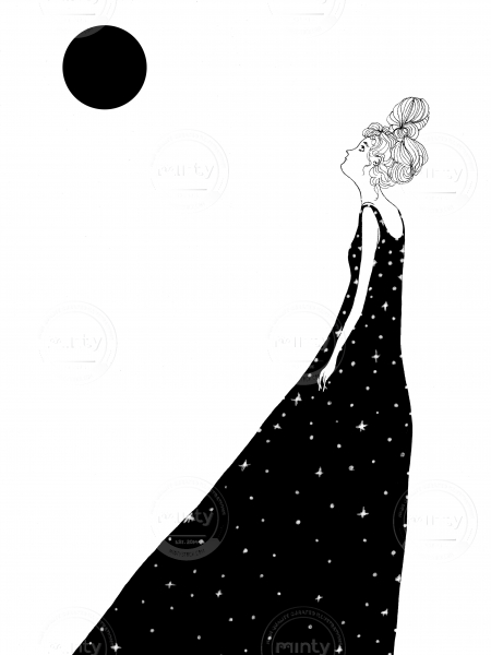 Girl looking at the moon.