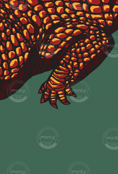 Crocodile's claw on green background
