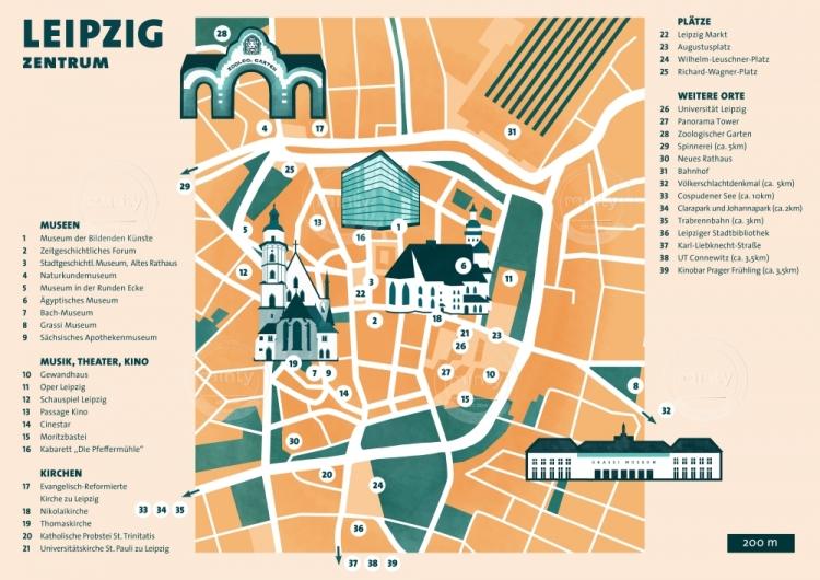 Illustrated map of Leipzig