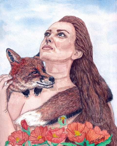 Woman with a fox wrapped around her shoulders.