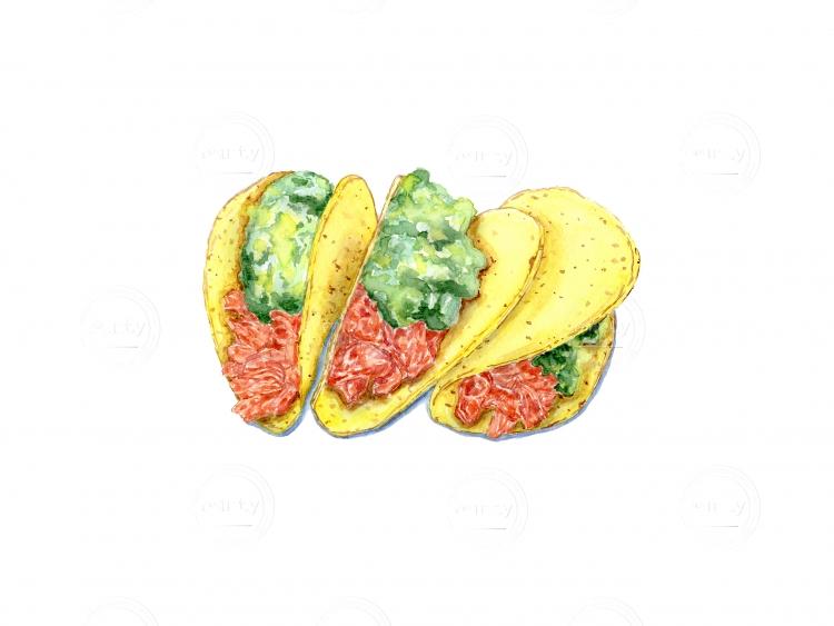 Three tacos with guacamole.