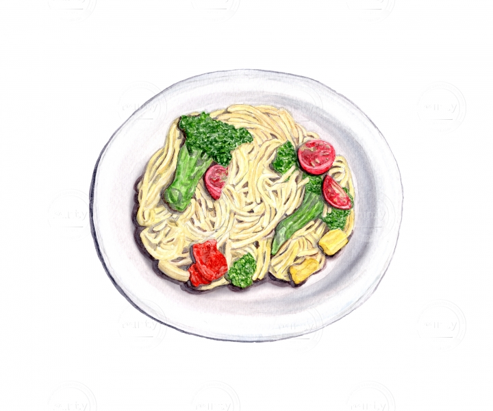 Plate of pasta: spaghetti noodles with broccoli, tomatoes, red and yellow bell peppers.