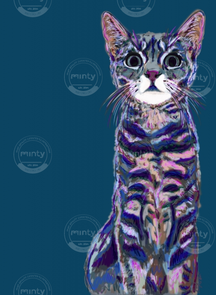 Digital painting of a striped cat.