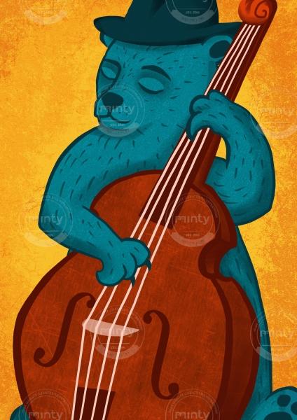 Bear playing contrabass