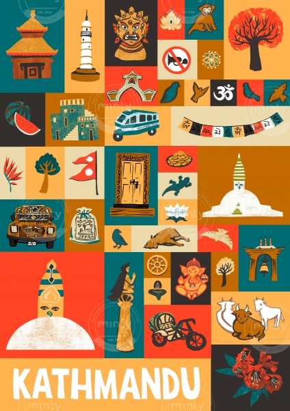 Poster of Kathmandu landmarks