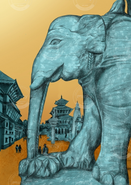 Elephant statue with temples in background, Patan, Nepal