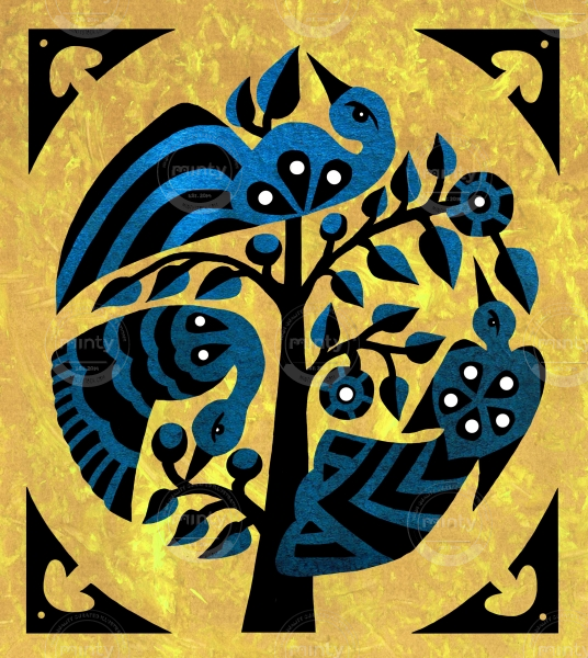 Birds in a tree, style inspired by Indonesian traditional art