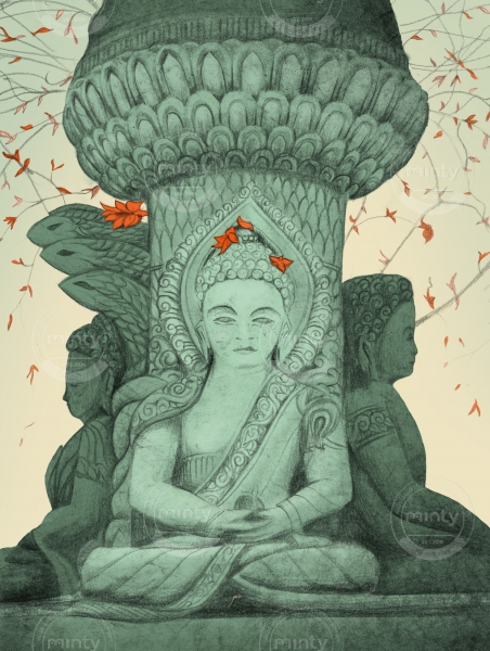 Drawing of Buddha statue with red flowers