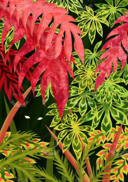 Thicket of green and pink leaves, with eyes staring from the dark background