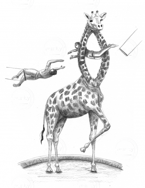 Trapeze act through giraffe
