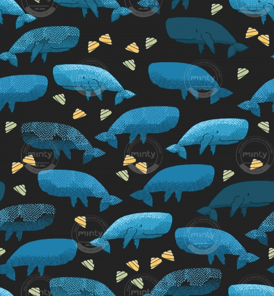 Blue whale with yellow seashells on dark grey background pattern