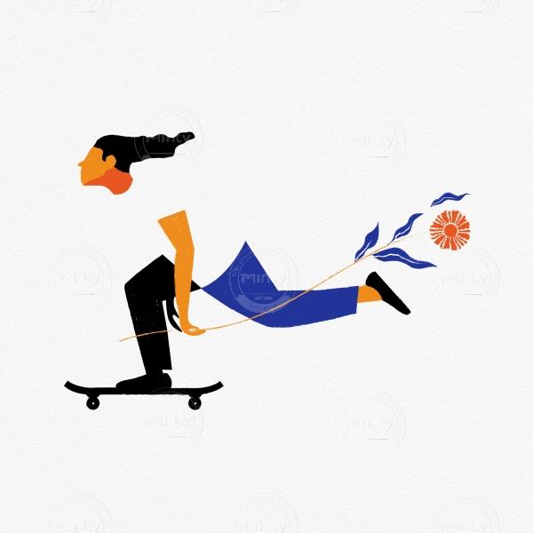 Skater boy with a flower speeding on skateboard