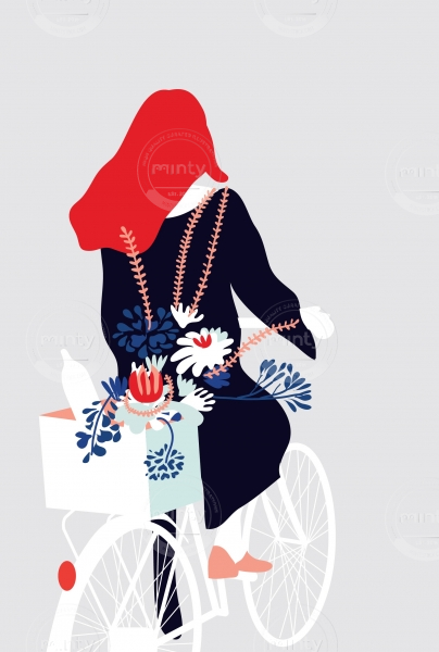 Girl on a Bike with Flowers and Red Hair