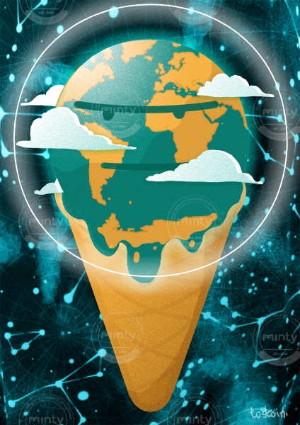 grumpy melting planet earth icecream climate change crisis conceptual illustration