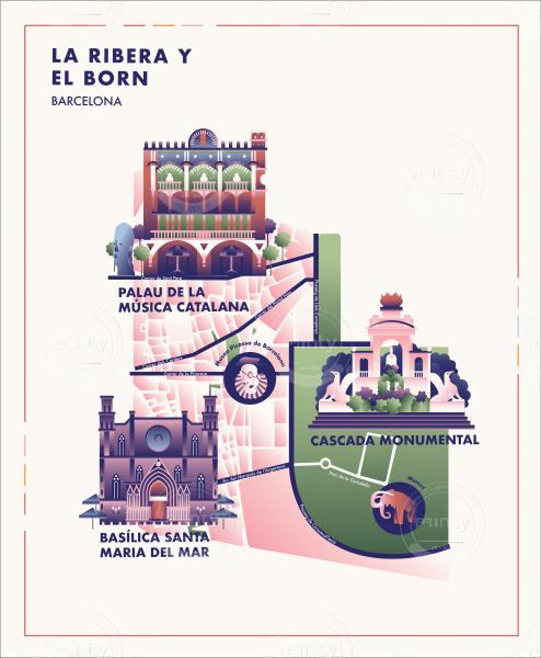 La Ribera y el Born Barcelona City Map with Flat Buildings