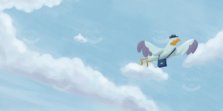 Mailman stork flying in a blue sky