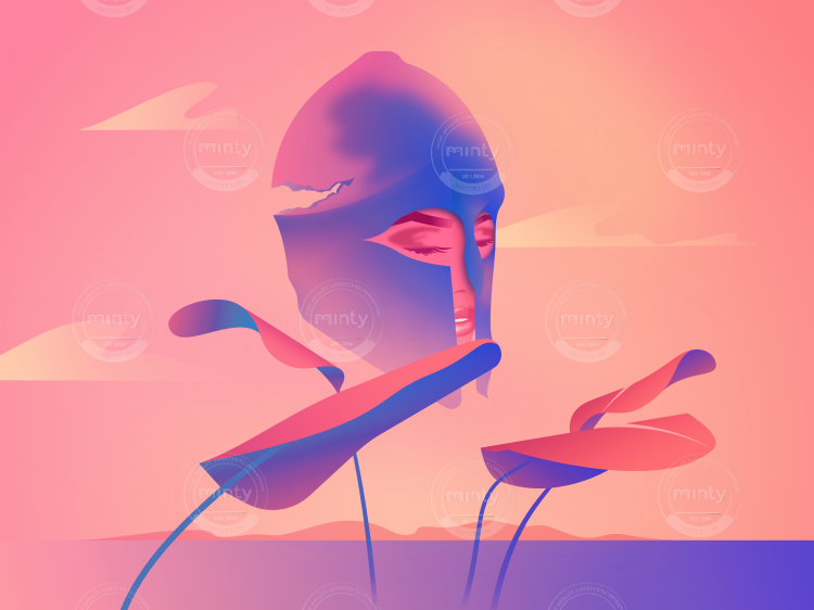 Female Fighter in Roman Helmet in Pink Sky