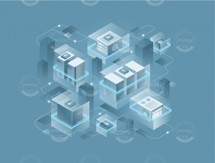Computer servers connected drawn in isometric view