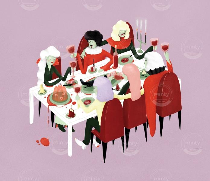 Group of vampires having a fine dinner