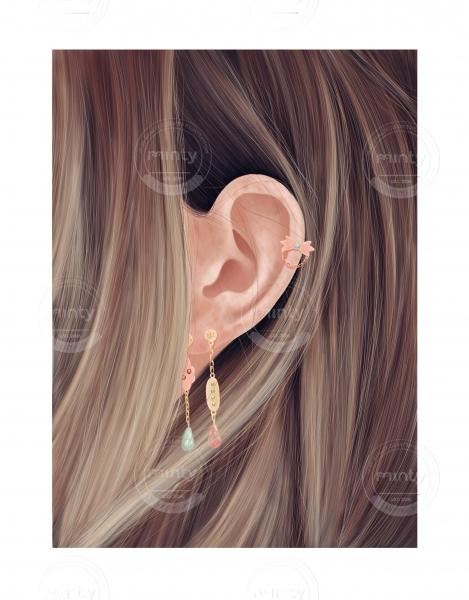 Earings in female hair