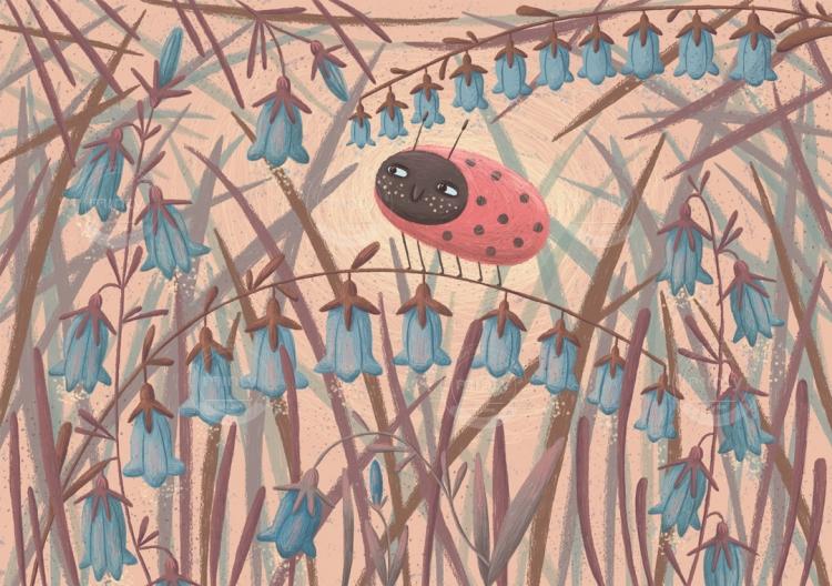 ladybug_and_bellflowers