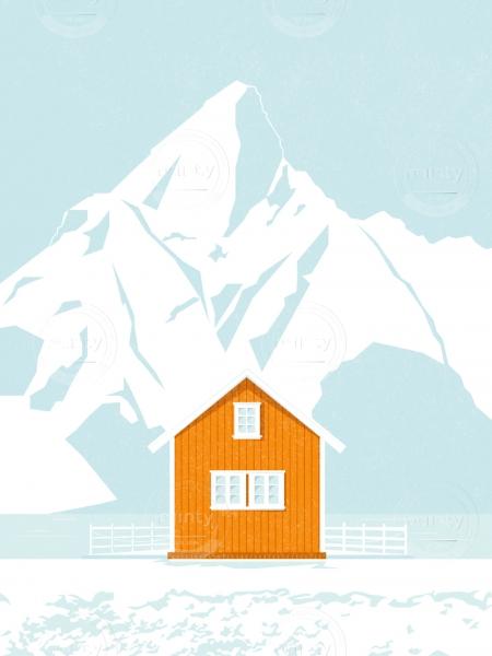 Norwegian orange cabin next to a lake, in mountainscape.