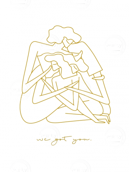 Four woman embracing and supporting each other.