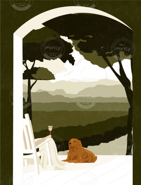 Man enjoying a glass of wine on his porch, at sunset, with his dog.